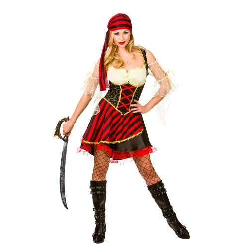 Ladies Glamorous Pirate Costume for Sea Buccaneer Fancy Dress Womens